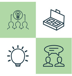 management icons set collection of collaborative vector image