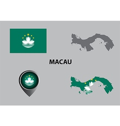 Map of Macau and symbol vector image
