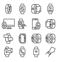 modern smart watches and apps tapping smartwatch vector image