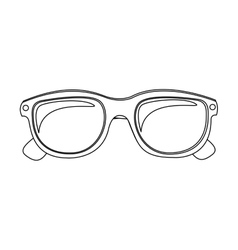 Monochrome silhouette oval glasses lens vector