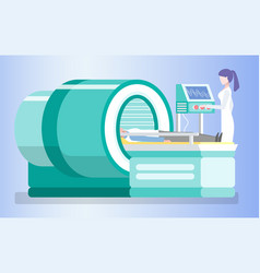 Mri clinical diagnostics patient laying on table vector