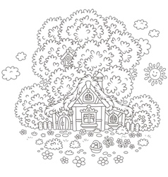 Old hut on Easter day vector image