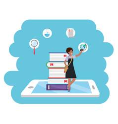 online education millennial student tablet splash vector image