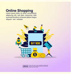online shopping concept with people character for vector image