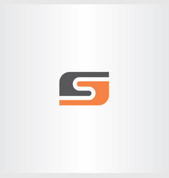 Orange black letter s logo icon logotype vector