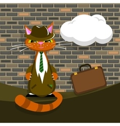 orange cat in suit with briefcase vector image