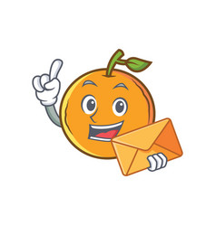 orange fruit cartoon character with envelope vector image