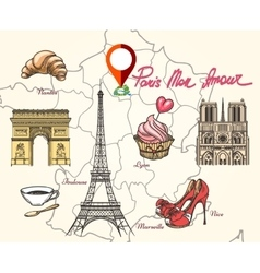 Paris France symbols vector image