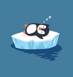 Penguin sleeping on ice floe vector