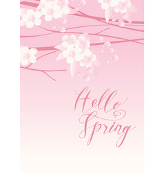 pink spring landscape with flowering tree vector image