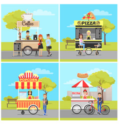 Pizza and popcorn hot dog and coffee carts set vector