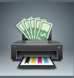 printer prints money dollars - business vector image