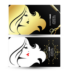Profile golden girl business card vector