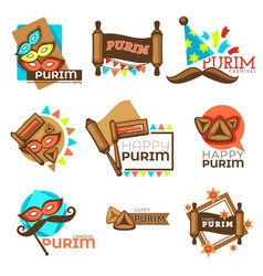 purim carnival jewish holiday isolated icons mask vector image