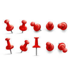 Push pin in different angles red thumbtack vector