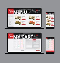 responsive asian food web shop template vector image
