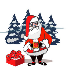 santa claus standing isolated on white background vector image