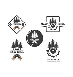 saw and pines tree logo icon vector image