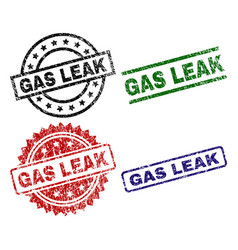 scratched textured gas leak seal stamps vector image
