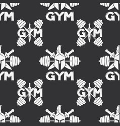 Seamless pattern with a gym sign vector