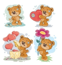 Set clip art of teddy bears vector image