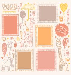 set doodle frames and giraffes vector image