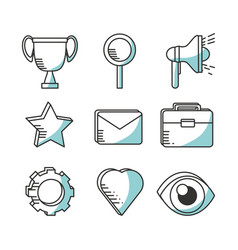 set line icons marketing concept vector image