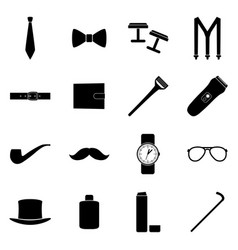 Set of black icons of man accessories vector