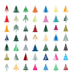 Set of color christmas trees vector