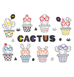 Set of isolated coloring funny cactus in glasses vector