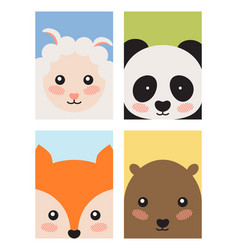 Sheep and panda fox and bear vector