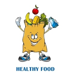 Shopping bag with healthy food vector