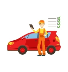 Smiling Mechanic Analysing With Checklist In The vector image