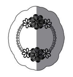 sticker silhouette decorative border with flowers vector image