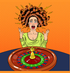 Stressed woman behind roulette table vector
