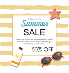 summer sale banner with sunglasses sun oil vector image