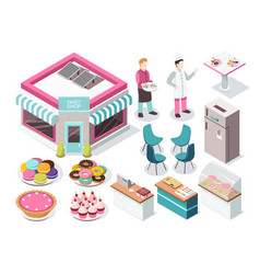Sweet shop isometric set vector