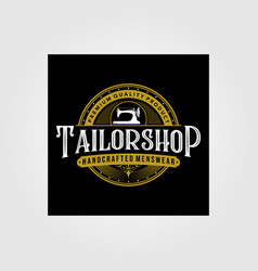 Tailor shop vintage logo premium tattoo vector