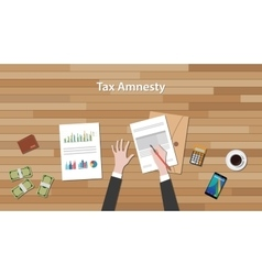 Tax amnesty with businessman hand signing a paper vector