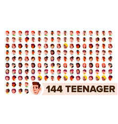 Teenager avatar set girl guy multi vector