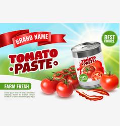 Tomato paste poster ad vector