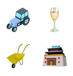 Tractor glass and other web icon in cartoon style vector