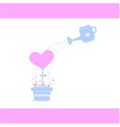 watering love tree watering heart tree take care vector image