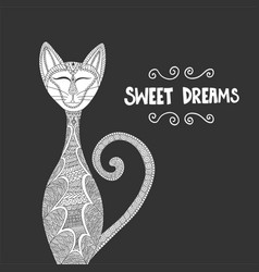 white cat antistress coloring book hand drawn vector image