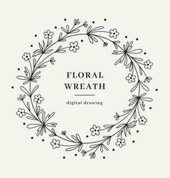 wildflower floral wreath hand-drawn wildflower vector image
