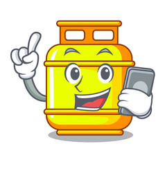 With phone flammable gas tank on cartoon the vector