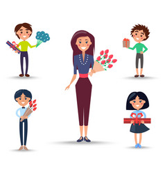woman with roses and children with presents set vector image