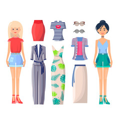 young girls in stylish clothes with spare outfits vector image