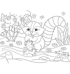 Cartoon coloring book black and white nature vector