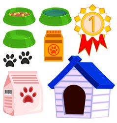 colorful cartoon cat pet care icon set vector image vector image